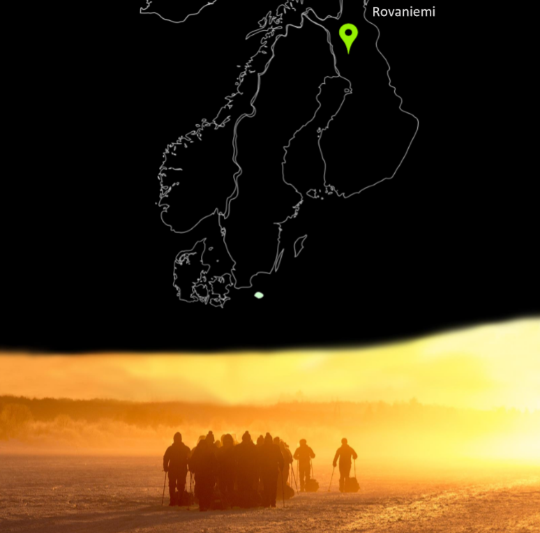 Breaking Strain graphic with a map of Finland, and an image of arctic trekkers walking in the arctic circle at sunset hour.